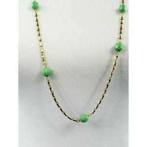 J. Crew boho green beaded and chain nwcklace